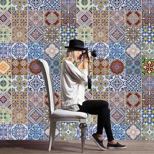 Acquista Adesivi Piastrelle Stile Arabo Adesivo Da Parete Cucina Carta Da  Parati In PVC Impermeabile Decorazione Della Casa Mosaico Piastrelle  Adesivi ...