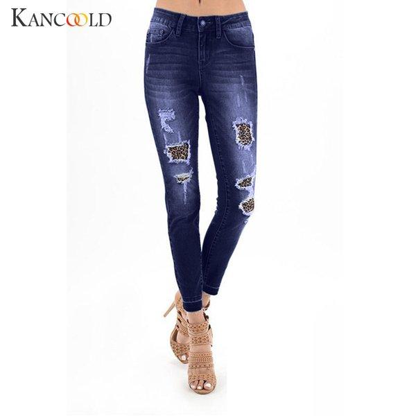 top popular KANCOOLD jeans Women Autumn Elastic Shredded Leopard Print Spliced Jeans Denim Plus Pants Pants woman 2018Oct26 2021