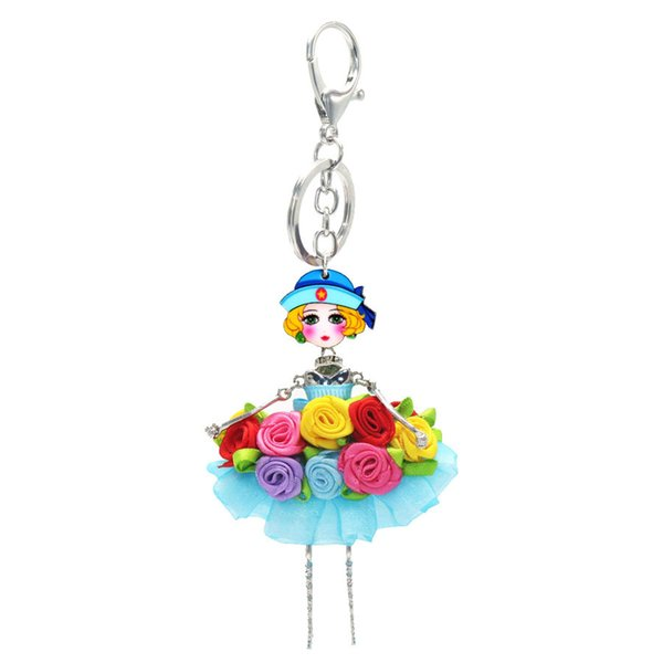 5pcs/set Fashion Doll Hang Pendant Neckace Colorful Lace Skirt Girls Necklace Earring For Women Girl Bag Car Accessories sku0031