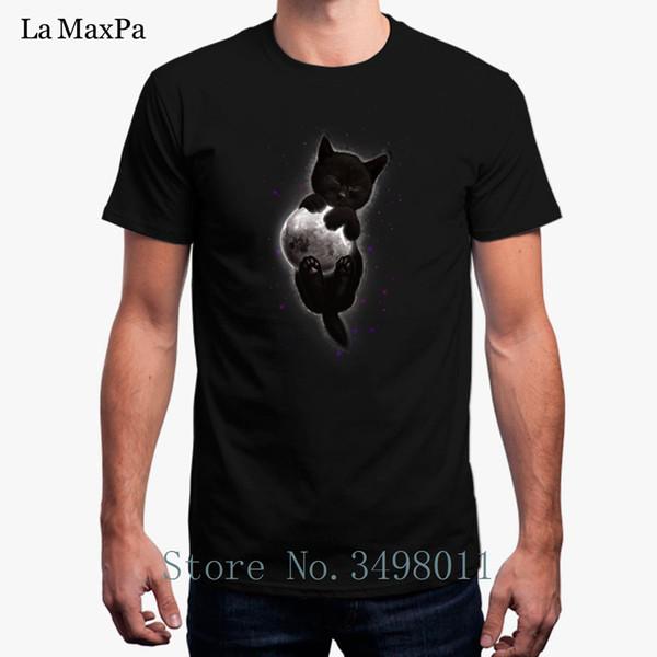 Nova Moda Norma Abraçando A Lua T-Shirt Cor Sólida T Shirt Para Homens Em Torno Do Pescoço Camiseta Legal Homem 2018 Homme Euro tamanho