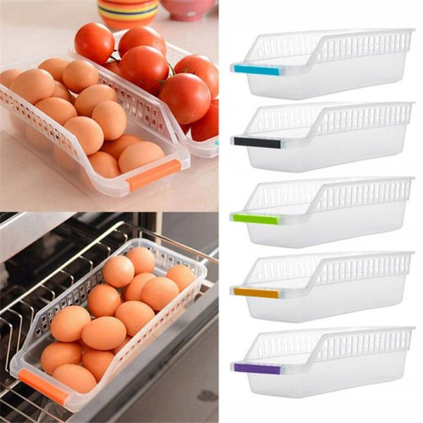 Kitchen Refrigerator Space Saver Eggs Container Box Ice Box Slide Shelf Rack  Holder Case Hollow Out Space Saver drop ship