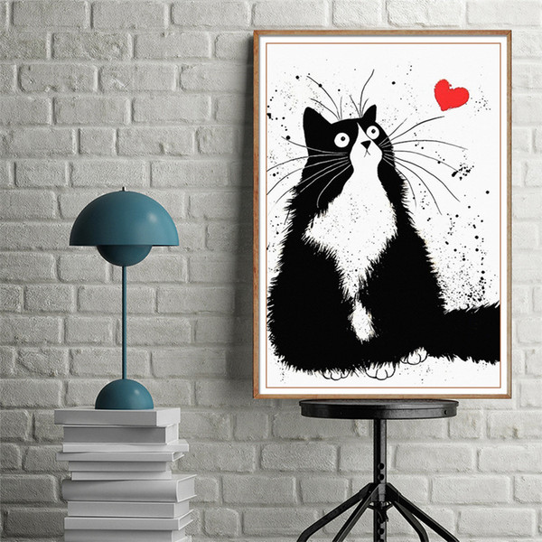 Diamonds Full Bore New Pattern A Living Room Hallway Corridor Vertical Version Concise Modern Black And White Cartoon Kitty Stick Drill