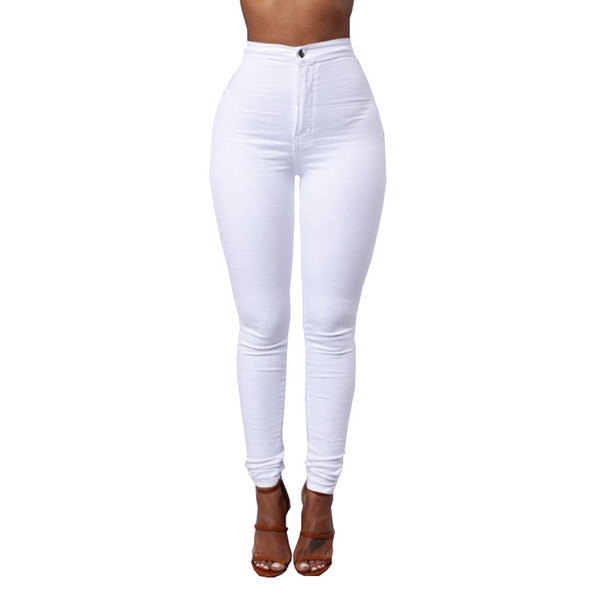 top popular Candy Color Skinny Jeans Woman White Black High Waist Render Jeans Vintage Long Pants Pencil Pants Denim Stretch Feminino 2021