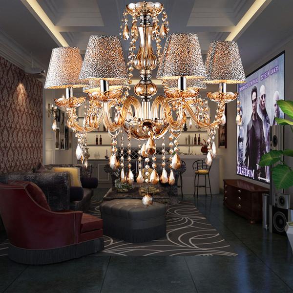Lámpara de salón minimalista europea moderna lámpara de cristal araña de cristal luces de velas en el comedor dormitorio lámpara de luz con pantalla