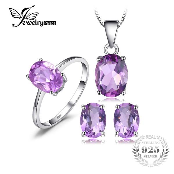 JewelryPalace Oval 4,2ct Natural Gemstone Amethyst Anello Orecchini Ciondolo Collana Set di gioielli in argento sterling 925 JewelryY1882503