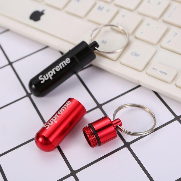 1 adet Mini Saklama Kutusu Kasa Küçük Şişe Taşınabilir Su Geçirmez Alüminyum Metal Anahtarlık Tablet Saklama Kabı