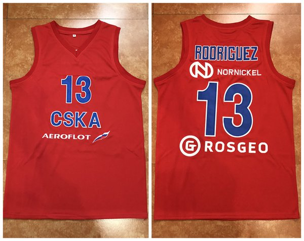 "#13 SERGIO ""CHACHO"" RODRIGUEZ CSKA MOSCOW 2017/18 VTB LEAGUE Retro Classics Basketball Jersey Mens Stitched Custom Number and name Jerseys"
