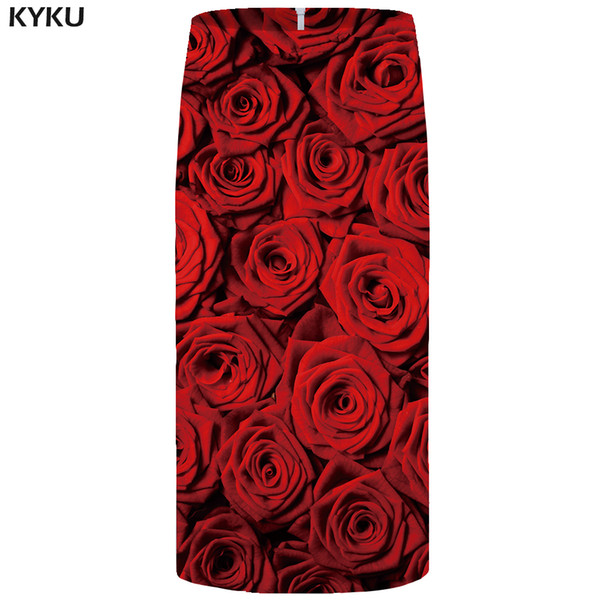 KYKU Rose Skirts Women Red Flower Party Skirt Pencil Beautiful 3d Print Sundresses Cool Sexy Ladies Skirts Womens Casual New