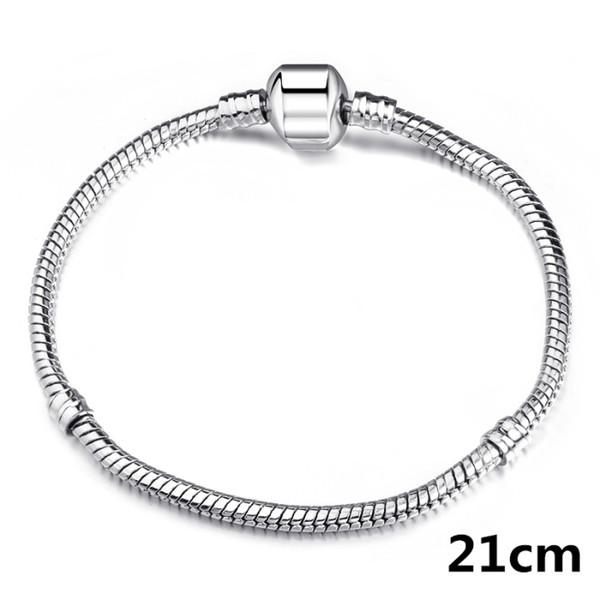 Factory Wholesale 925 Sterling Silver Bracelets 3mm Snake Chain Fit Pandora Charm Bead Bangle Bracelet Jewelry Gift For Men Women KKA1153
