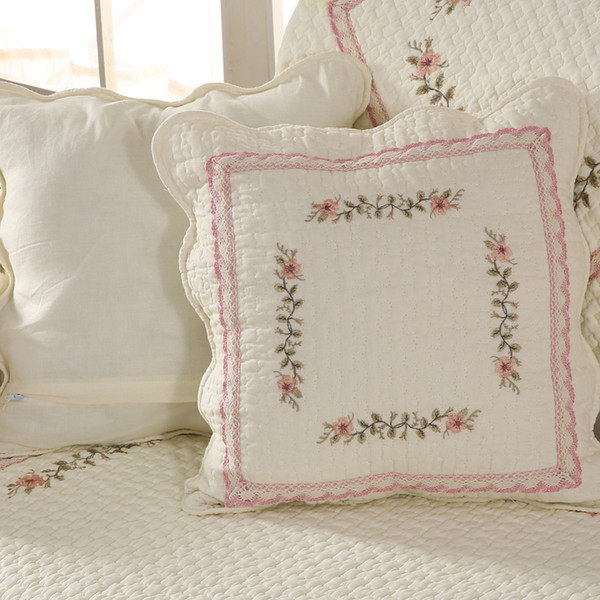 Lingge lace embroidered pillowcase cushion cover High quality cotton material Christmas decoration gift 48*48cm Pink and light gray