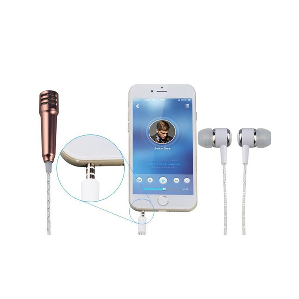 Mini Handheld Microphone with earphone Singing Karaoke Recording Mic for IOS iphone Android Samsung Smartphone With Retail Packing