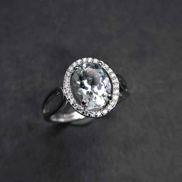 100% натуральный Бразилия Аквамарин овальный 7*9 мм 1.45 ct драгоценный камень кольцо в стерлингового серебра 925 пробы для женщин юбилей партии подарок на день рождения