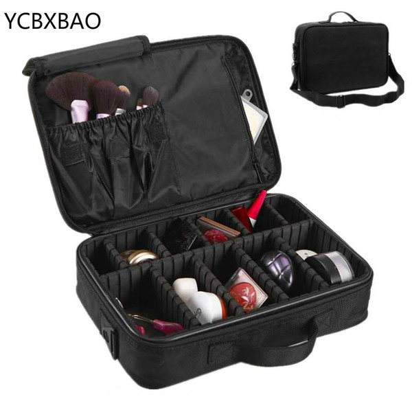 YCBXBAO Brand Women Travel Large Double Layer Professional Cosmetic Cases For Organizer Tattoos Nail Art Tool Beauty Makeup Bag