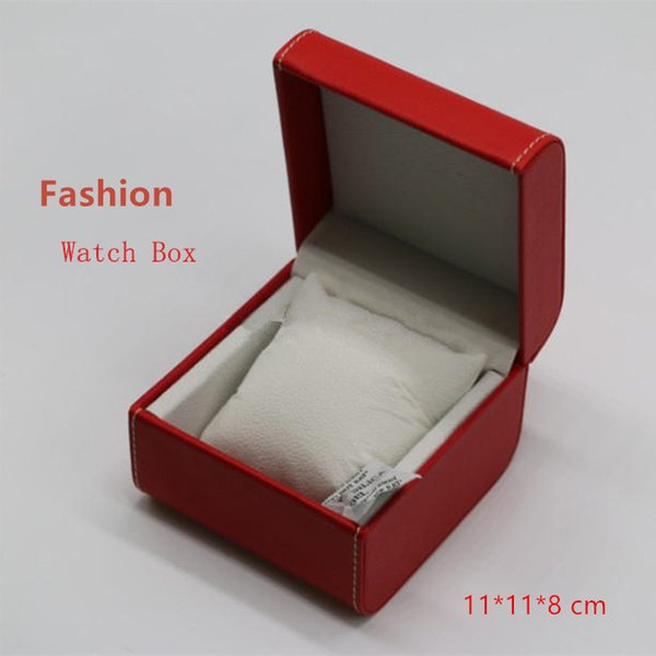 Top Scatole per orologio rosse Scatole per orologio in materiale sintetico Scatole per scatole quadrate con forme e bracciale Custodia W068