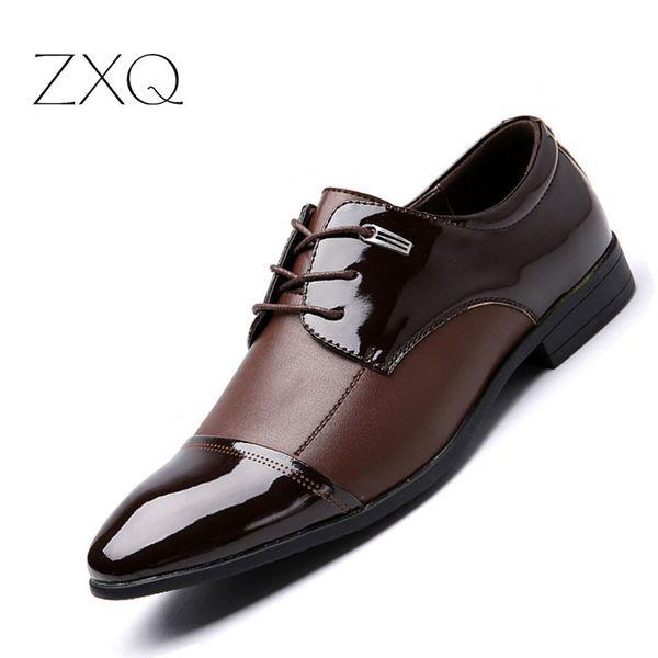 ZXQ Plus Size 38-47 Men Business Casual Shoes Men Falts Oxford Dress Shoes For High Quality Leather