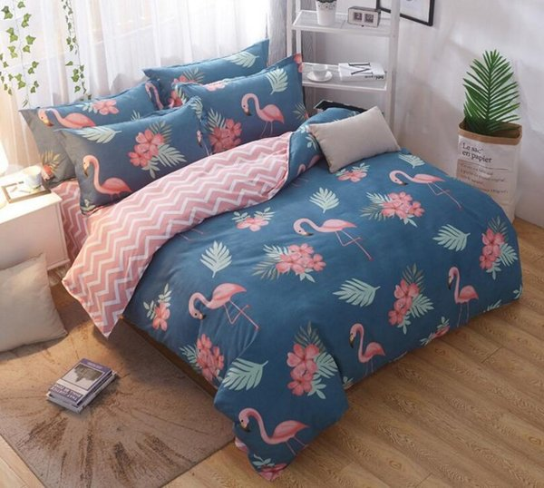 Wholesale New Bedding Set Duvet Cover Sets Bed Sheet European Animal Flower Fresh Style Adults Bedroom Sets Queen King Size Cotton Bedlinen High End