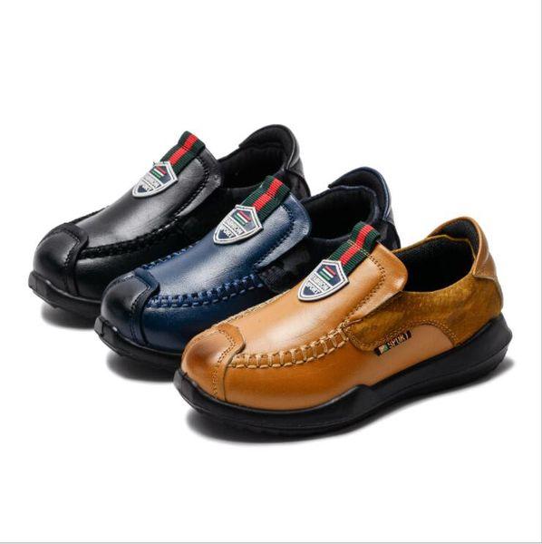 Kinder Sneakers Frühling Herbst Kleinkind Little Boys Loafers Schuhe Kinder Slip-on PU-Leder Kinder Freizeitschuhe Verkauf EU26-36