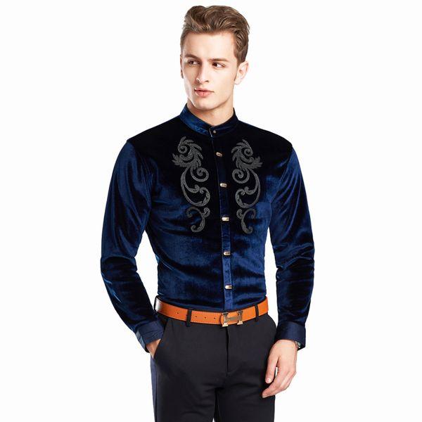 Embroidery Velvet Shirt Men Long Sleeve Mandarin Collar Shirt For Men Camisas Masculina Manga Longa Mens Party Button