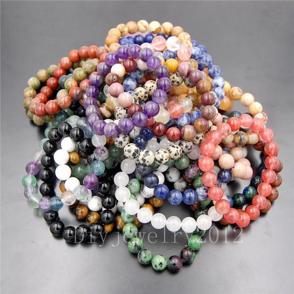 10pcs / Lot 8mm pietre naturali gemme natura rotonda perline elastico braccialetto 7.5