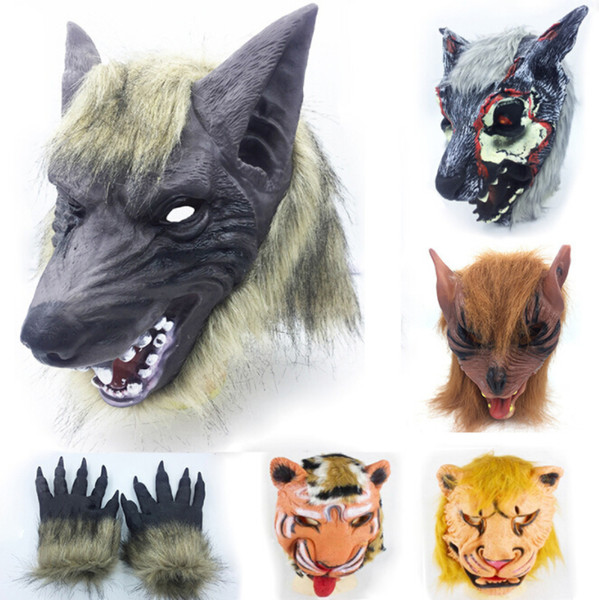 Lion Tiger Wolf Animal Masks Glove Mens Women Kids Halloween Costume Accessories Funny Masks Party Club Cosplay Free Shipping
