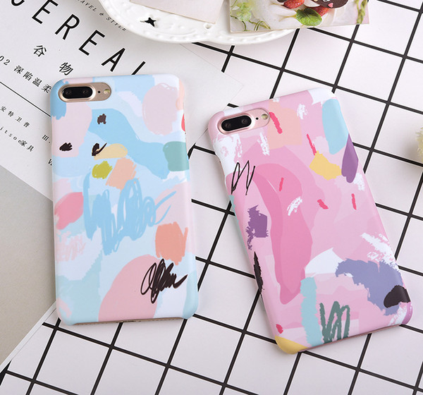 For Iphone Matte Phone Cases For Iphone X 7 8 plus 6 6s plus Cell Phone Case Painted Graffiti Hard PC Back Cover Shell Free DHL A766