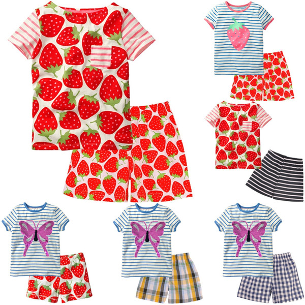 Strawberry Red Baby Girl Clothes 1-5Y Toddler Tee Shirts Pant Clothing Suit Children Outfits Cotton Kid Top T-Shirt Panties Soft Tracksuit