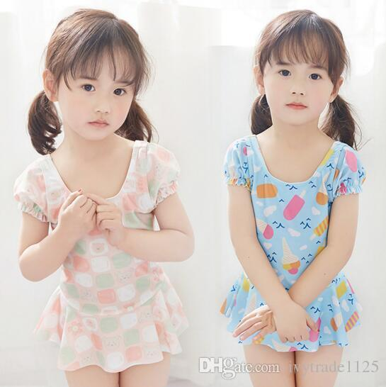 Ins fashion hot selling girl kids one piece bikini summer girl cute Cartoon Print Swimming clothes 2 styles free ship