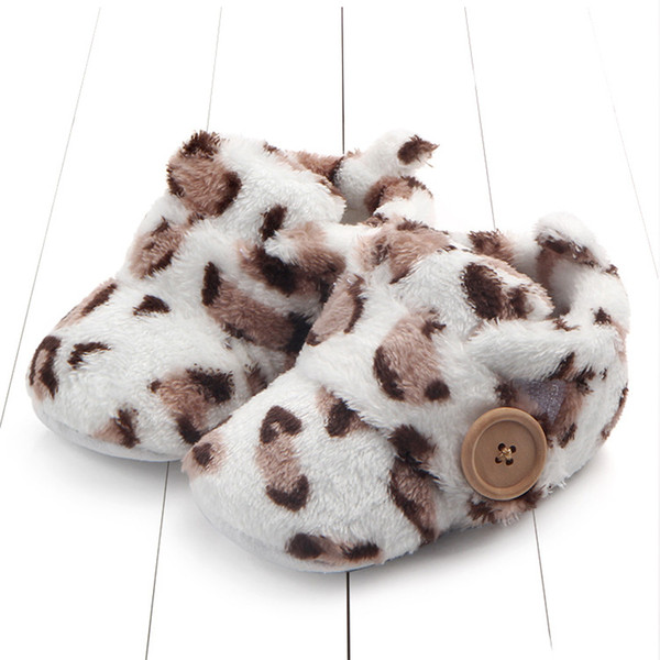 Round Toe Flats Soft baby Slippers flock Shoes Lovely Toddler First Walkers Baby Shoes Fluffy Thicken warm winter kids 40