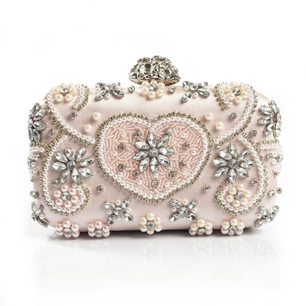 2018 Crystal Evening Bag Handmade Style Rhinestones Pearl Women Evening Bags Vintage Satin Lady Party Wedding Clutches Purses