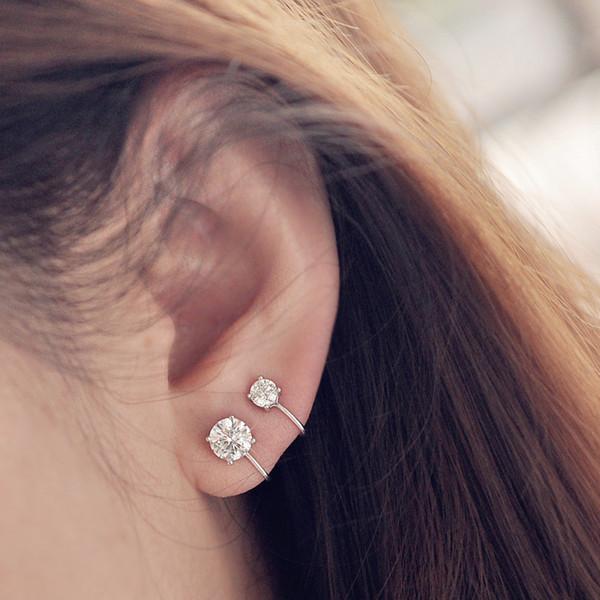 Серьги-клипсы из стерлингового серебра 925 пробы для женщин в корейском стиле с четырьмя когтями, циркониевые манжеты для ушей, мода S925, женские ювелирные аксессуары