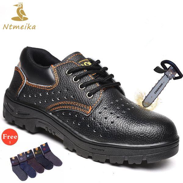 Plus la taille 35-46 hommes chaussures de sécurité Steel ToeCap semelle en acier PU bottes de sécurité hommes lacent jusqu'à léger respirant chaussures de travail occasionnels