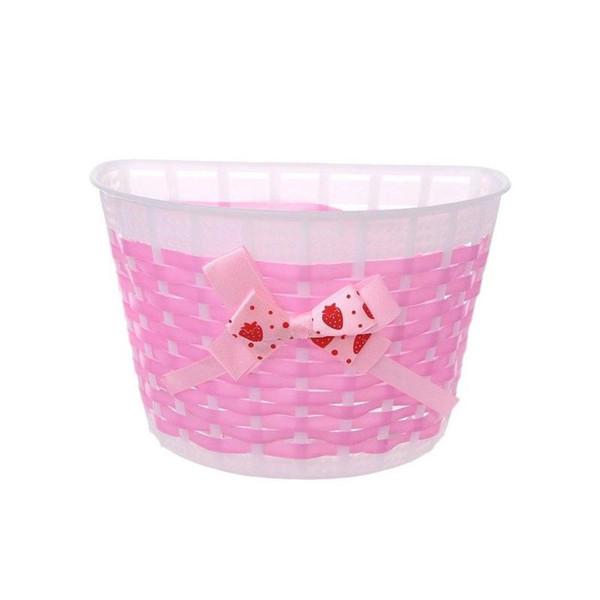 1 pieza de bicicleta para niños de plástico cesta Knied mit arco en 20x13cm / 7.87x5.12 '' vientre rosa negro NJU0328