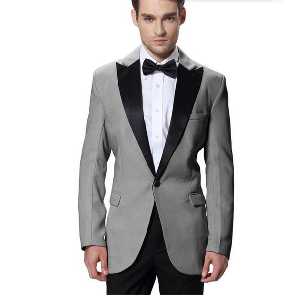 Customized new gray men's suit two-piece suit (jacket + pants) men's single buckle gun collar collar suit men's ball party dress