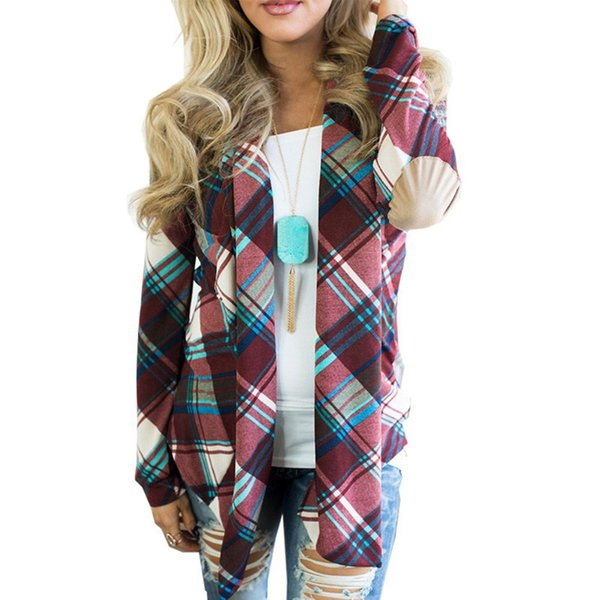 2018 Autumn Women's Jacket Plaid Print Long Sleeve Open Front Cardigan Elbow Patch Draped Short Thin Coat Ladies Open Stitch