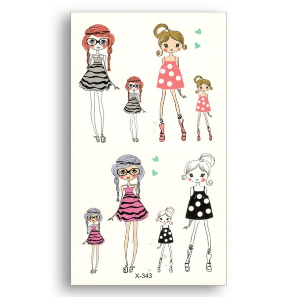 Fake temporary tattoo Water Transfer Colorful cute Cartoon girl Stickers Child kid beauty Body Art Makeup Live of Song X343