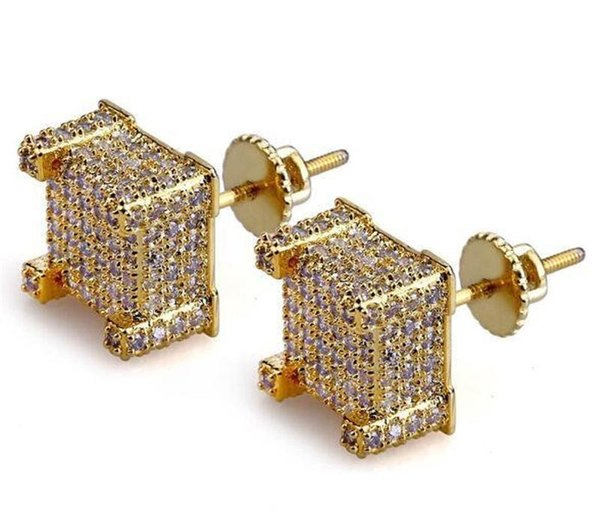 Fashion Men HipHop Full Cubic Zirconia Stud Earrings Copper Blingbling Cz Gold Color Earrings Women Zircon Hip hop Rock Jewelry KKA1803