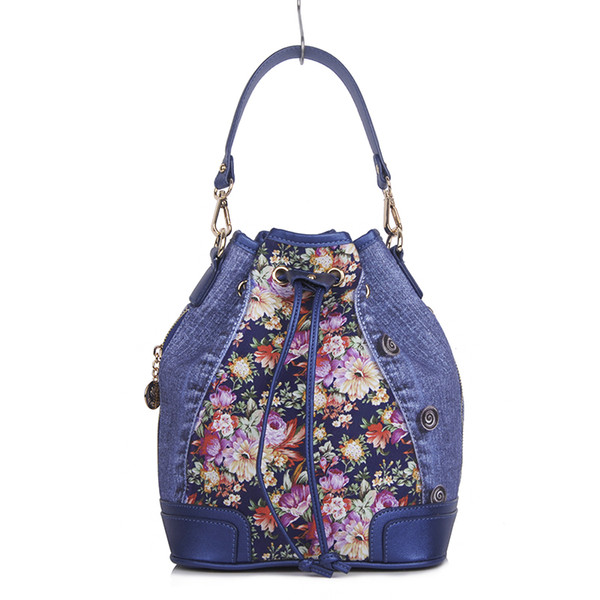 2018 new design handle and messenger cross body small summer floral print cotton and leather shoulder bag women bag