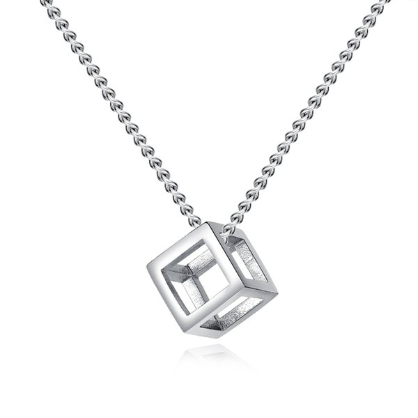 7SEAS New Fashion Cube Pendant Necklace 316L Stainless Steel Necklaces In Black Silver Colours Jewelry For Man Best Gifts 7S1452