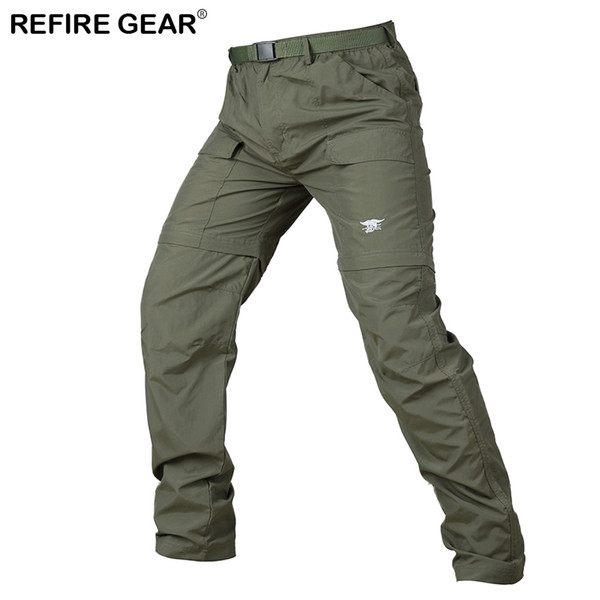 Refire Gear Camouflage Outdoor Detachable Pants Men Summer Hiking Quick Dry Pants Knee Length Zipper Removable Camping Trousers C18111401