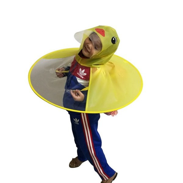 Yellow Duck Kids Raincoat UFO Cap Umbrella Automatic Folding Umbrella Children Hat Creative Raincoat Gift Student Woman Rain Hat
