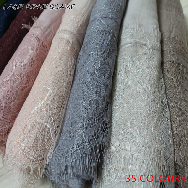 2017 Ladies Lace edges Free Shipping beautiful hijabs Scarves Women Plain/solid Cotton viscose Head Scarf oversize muffler shawl D18102406