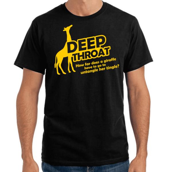 Глубокое горло | Глубокая глотка | Жираф | Fun Adult Spruche S - 2xl футболка с круглым вырезом и принтом из чистого хлопка