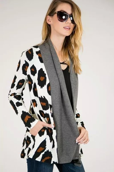 New Spring Leopard Women Cardigan Casual maniche lunghe Kintted Patchwork Top stile europeo Europa Outwear Cappotto sottile