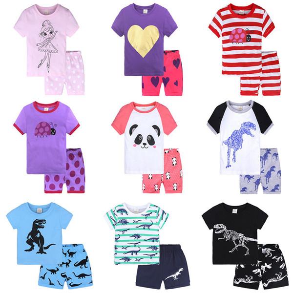 d7e1bf7d2 Compre INS Niño Camiseta + Pantalones Cortos 2 Unids Conjunto Verano Niños  Niñas Algodón Pijamas Trajes Para Niños Dinosaurio Rayas Ropa Impresa ...