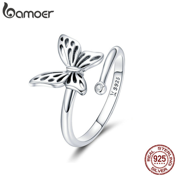 925 Sterling Silver Vintage Butterfly Adjustable Crystal Finger Rings for Women Jewelry Engagement Anniversary Valentine's Day Couple Gift