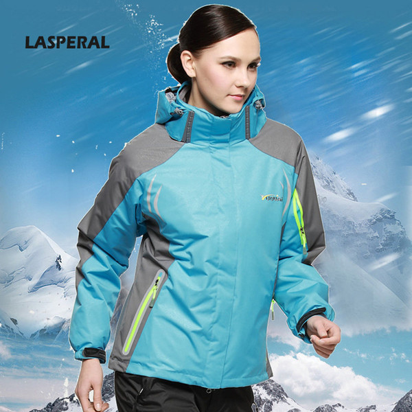 Wholesale-LASPERAL 3Piece Running Jackets Women Men Winter Outdoor Thickening Warm Sport Coats With Hoodie Hiking Skiing Coat High Quality