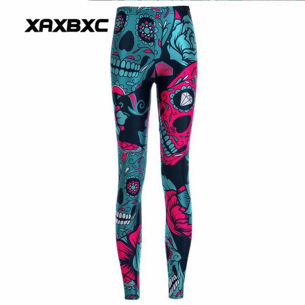 XAXBXC 3894 Sexy Girl Pencil Pants Halloween Skull Floral Diamond Prints Elastic Slim Fitness Workout Women Leggings Plus Size