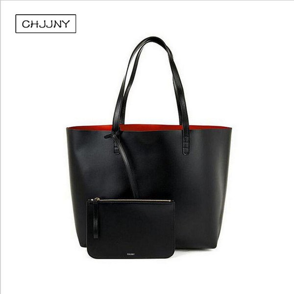 women shopper large tote shoulder bag real leather black handbag with small mini purse designer genuine leather