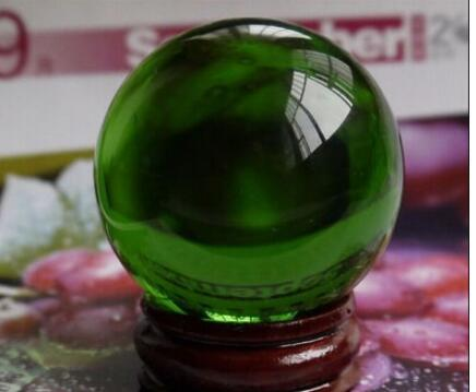 +Rare Natural Green Glass Crystal Healing Ball Sphere 38mm + Stand New