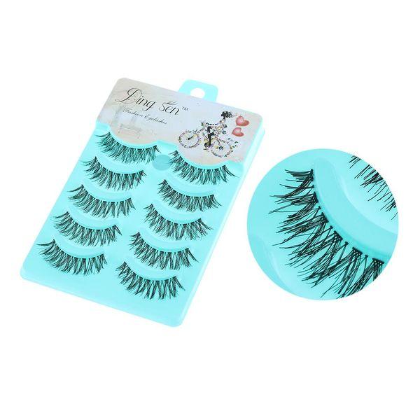 5 Pairs/set Soft Natural Sparse Cross Eye Lashes Extension Makeup Long Thick Fake False Eyelashes Handmade Grafting Tool